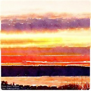 Waterlogue Sunset Image by Beth Buelow